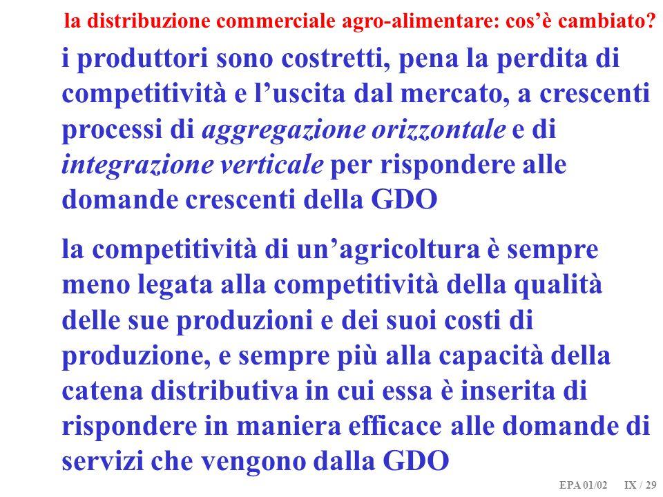 EPA 01/02 IX / 29 la distribuzione commerciale agro-alimentare: cosè cambiato? i produttori sono costretti, pena la perdita di competitività e luscita