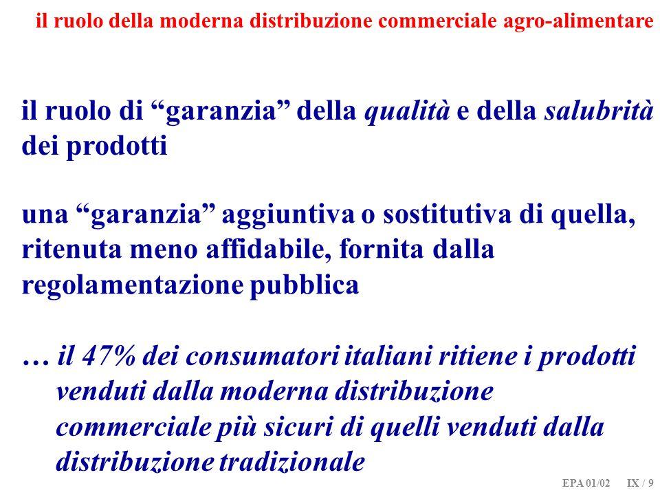 EPA 01/02 IX / 9 il ruolo della moderna distribuzione commerciale agro-alimentare il ruolo di garanzia della qualità e della salubrità dei prodotti …