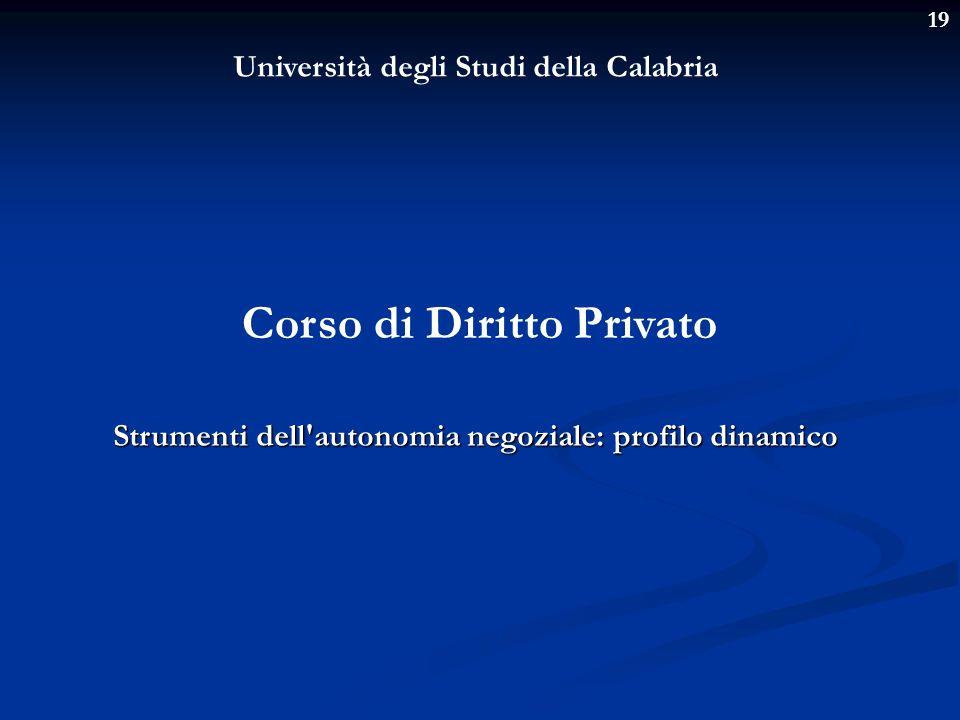 19 Università degli Studi della Calabria Corso di Diritto Privato Strumenti dell'autonomia negoziale: profilo dinamico