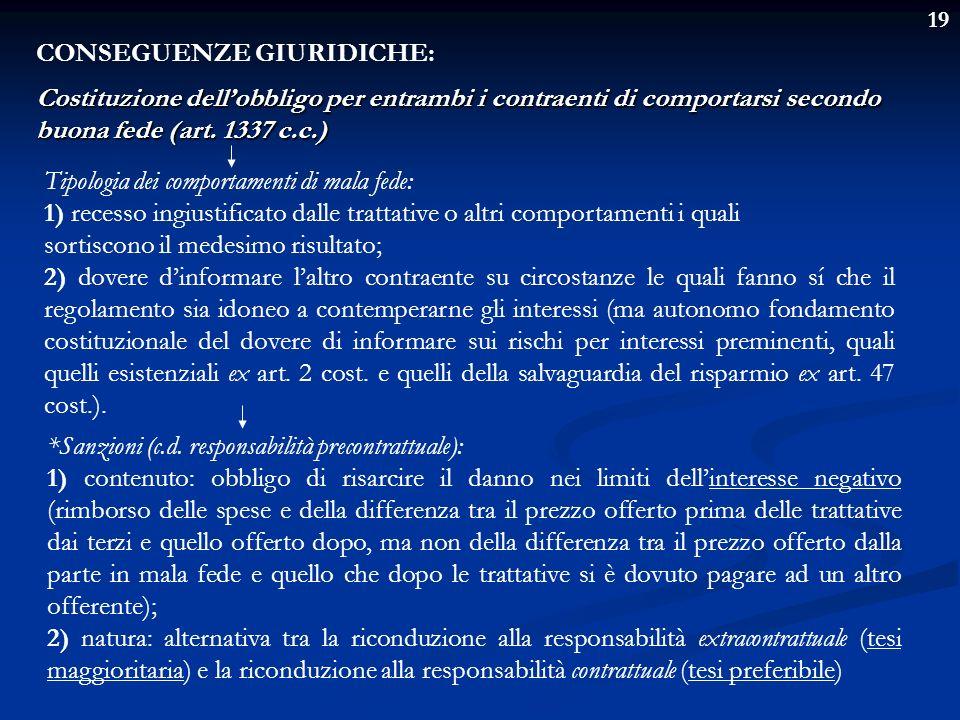19 CONSEGUENZE GIURIDICHE: Costituzione dellobbligo per entrambi i contraenti di comportarsi secondo buona fede (art. 1337 c.c.) Tipologia dei comport