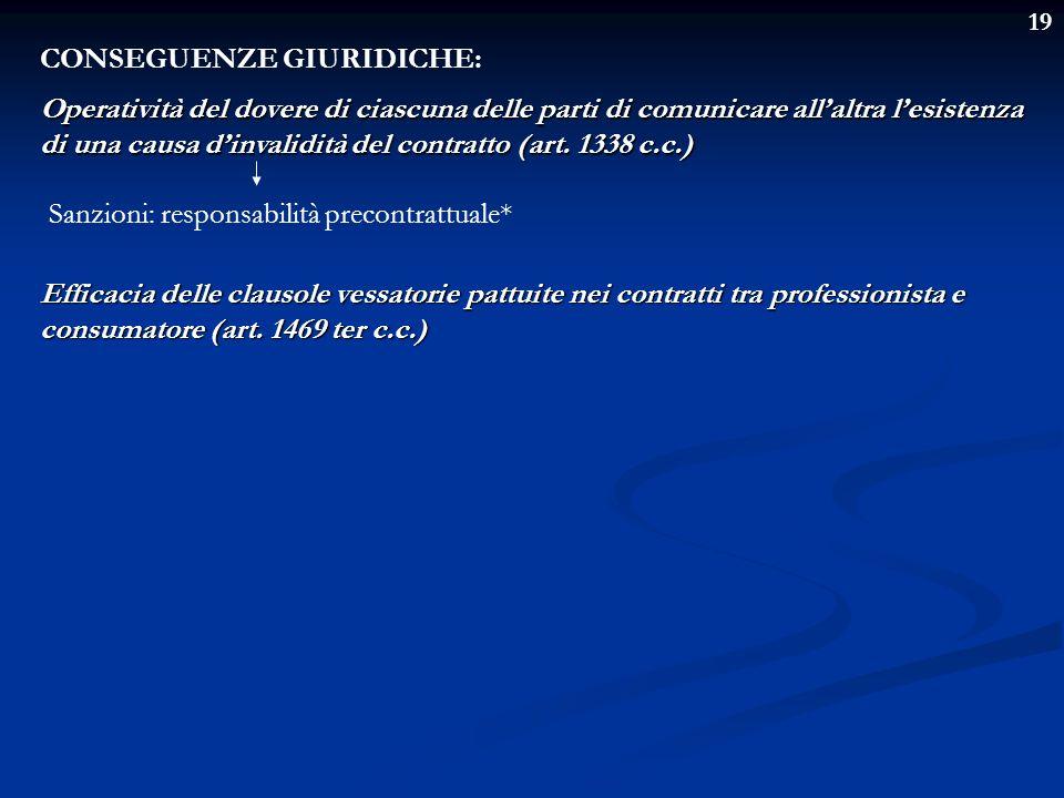 19 CONSEGUENZE GIURIDICHE: Operatività del dovere di ciascuna delle parti di comunicare allaltra lesistenza di una causa dinvalidità del contratto (ar