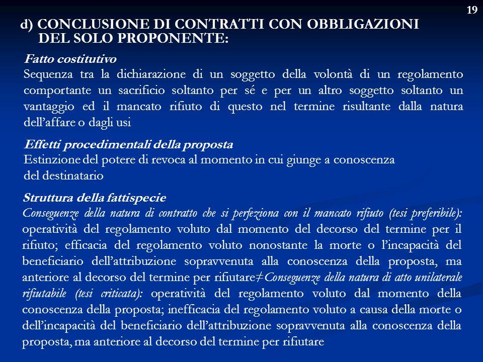 19 d) CONCLUSIONE DI CONTRATTI CON OBBLIGAZIONI DEL SOLO PROPONENTE: Fatto costitutivo Sequenza tra la dichiarazione di un soggetto della volontà di u