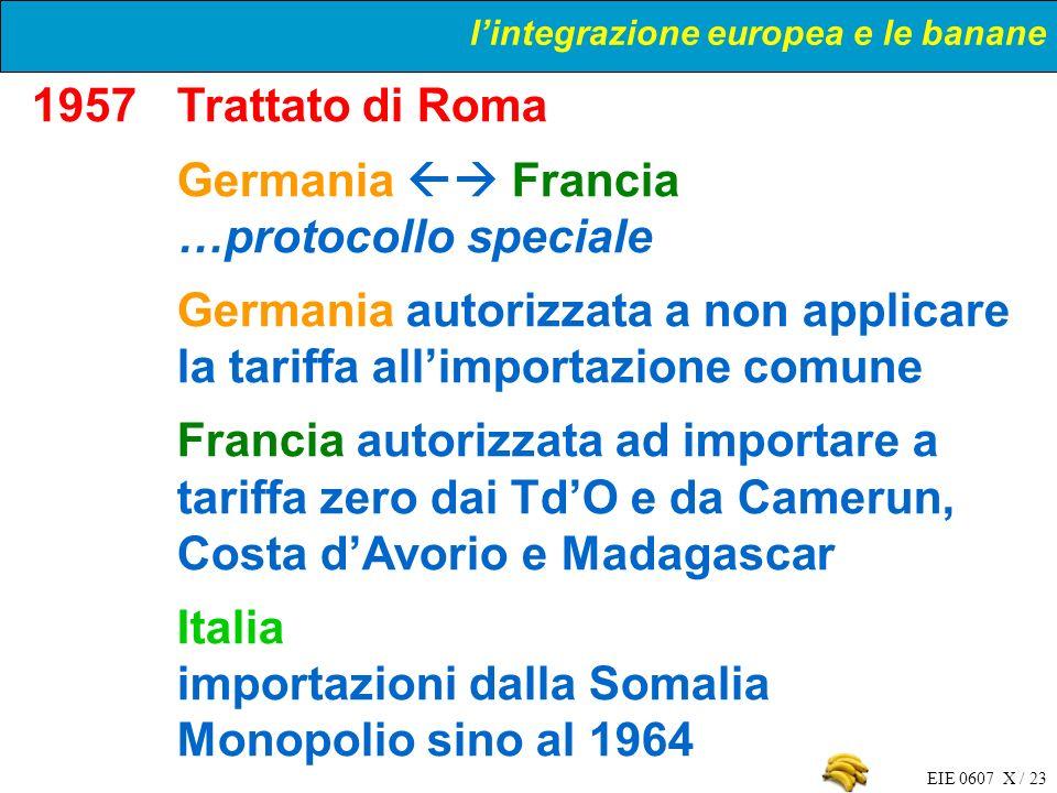 EIE 0607 X / 23 1957Trattato di Roma Germania Francia …protocollo speciale Germania autorizzata a non applicare la tariffa allimportazione comune Fran