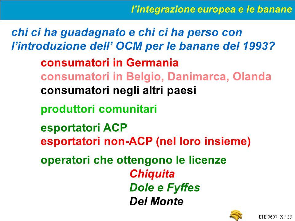 EIE 0607 X / 35 chi ci ha guadagnato e chi ci ha perso con lintroduzione dell OCM per le banane del 1993? consumatori in Germania consumatori in Belgi