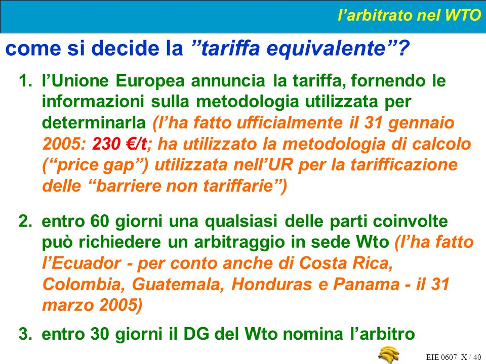 EIE 0607 X / 40 1.lUnione Europea annuncia la tariffa, fornendo le informazioni sulla metodologia utilizzata per determinarla (lha fatto ufficialmente
