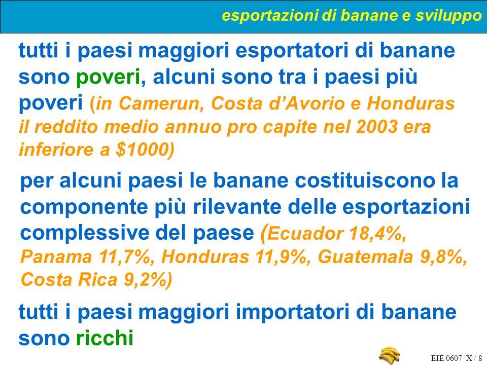 EIE 0607 X / 8 tutti i paesi maggiori esportatori di banane sono poveri, alcuni sono tra i paesi più poveri (in Camerun, Costa dAvorio e Honduras il r