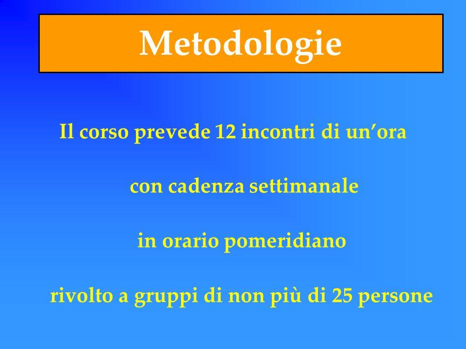 Metodologie Il corso prevede 12 incontri di unora con cadenza settimanale in orario pomeridiano rivolto a gruppi di non più di 25 persone