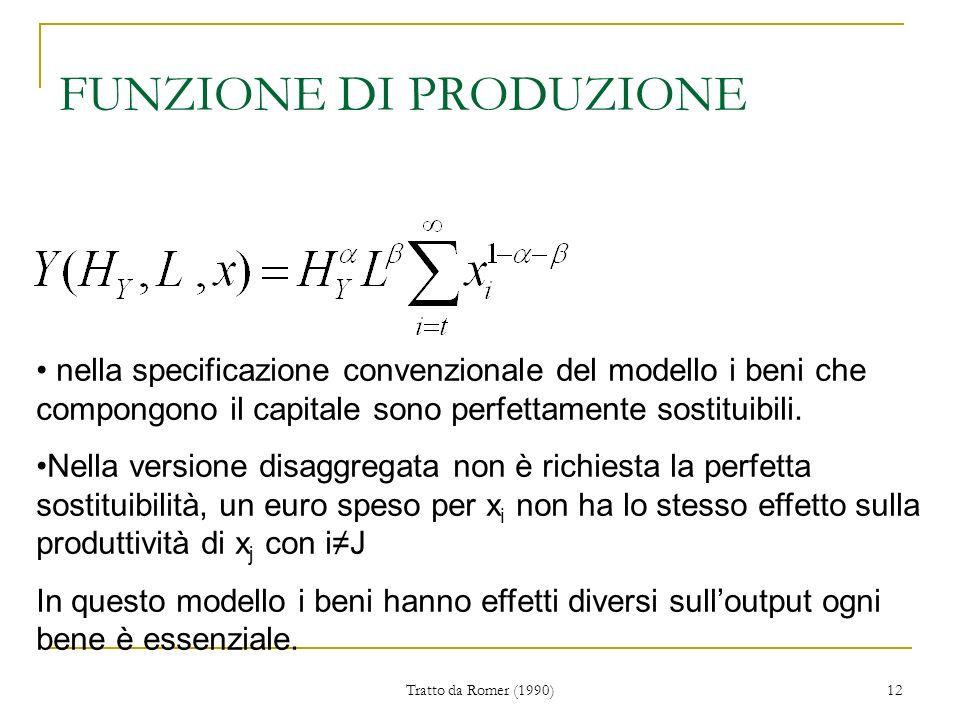 Tratto da Romer (1990) 12 FUNZIONE DI PRODUZIONE nella specificazione convenzionale del modello i beni che compongono il capitale sono perfettamente sostituibili.