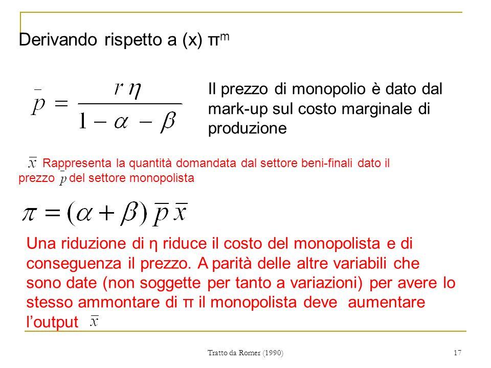 Tratto da Romer (1990) 17 Derivando rispetto a (x) π m Il prezzo di monopolio è dato dal mark-up sul costo marginale di produzione Una riduzione di η riduce il costo del monopolista e di conseguenza il prezzo.