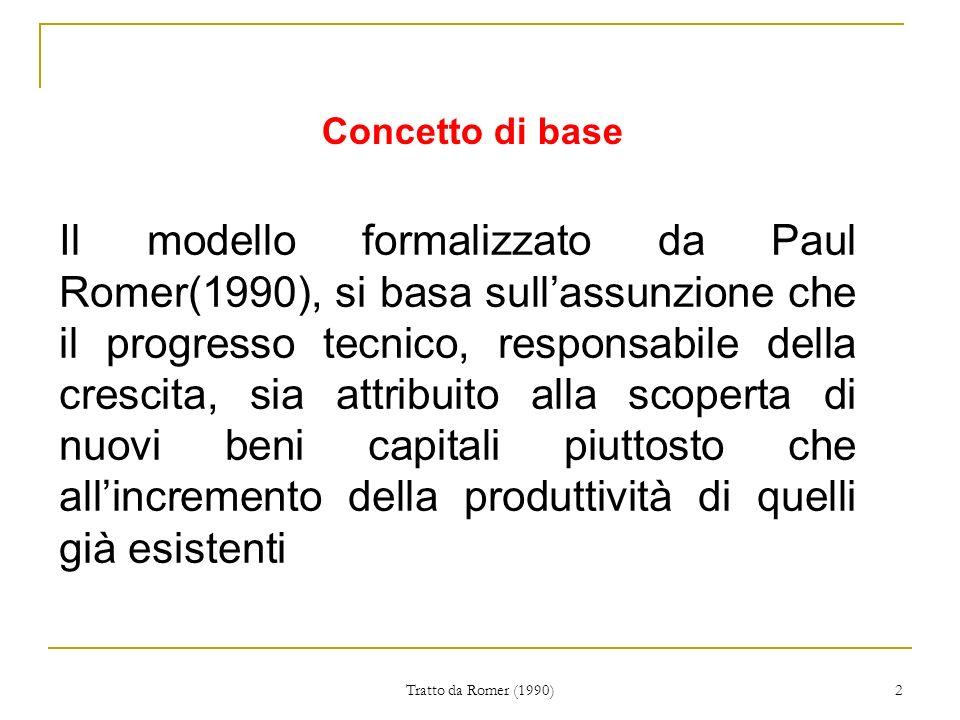 Tratto da Romer (1990) 2 Il modello formalizzato da Paul Romer(1990), si basa sullassunzione che il progresso tecnico, responsabile della crescita, sia attribuito alla scoperta di nuovi beni capitali piuttosto che allincremento della produttività di quelli già esistenti Concetto di base