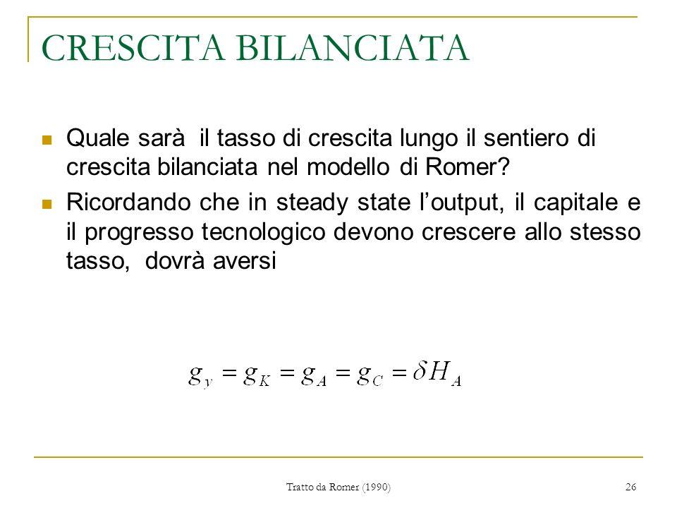 Tratto da Romer (1990) 26 CRESCITA BILANCIATA Quale sarà il tasso di crescita lungo il sentiero di crescita bilanciata nel modello di Romer.