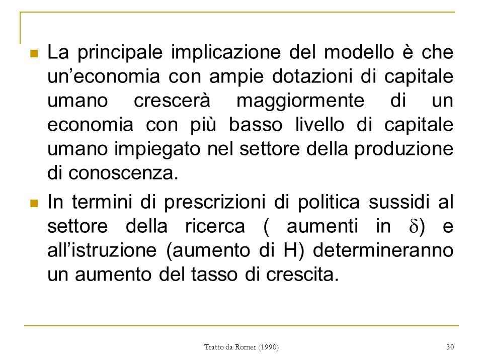 Tratto da Romer (1990) 30 La principale implicazione del modello è che uneconomia con ampie dotazioni di capitale umano crescerà maggiormente di un economia con più basso livello di capitale umano impiegato nel settore della produzione di conoscenza.