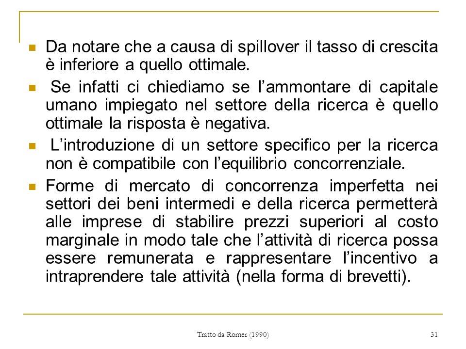 Tratto da Romer (1990) 31 Da notare che a causa di spillover il tasso di crescita è inferiore a quello ottimale.