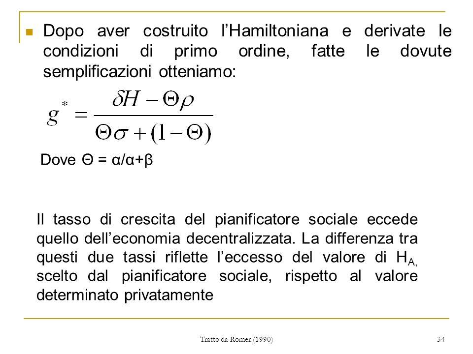 Tratto da Romer (1990) 34 Dopo aver costruito lHamiltoniana e derivate le condizioni di primo ordine, fatte le dovute semplificazioni otteniamo: Dove Θ = α/α+β Il tasso di crescita del pianificatore sociale eccede quello delleconomia decentralizzata.