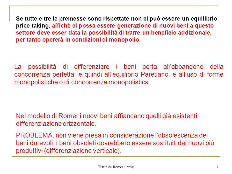 Tratto da Romer (1990) 4 Se tutte e tre le premesse sono rispettate non ci può essere un equilibrio price-taking.