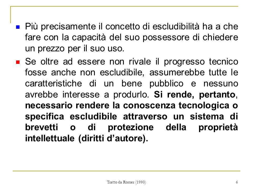 Tratto da Romer (1990) 6 Più precisamente il concetto di escludibilità ha a che fare con la capacità del suo possessore di chiedere un prezzo per il suo uso.