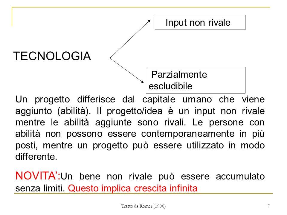Tratto da Romer (1990) 7 TECNOLOGIA Input non rivale Parzialmente escludibile Un progetto differisce dal capitale umano che viene aggiunto (abilità).
