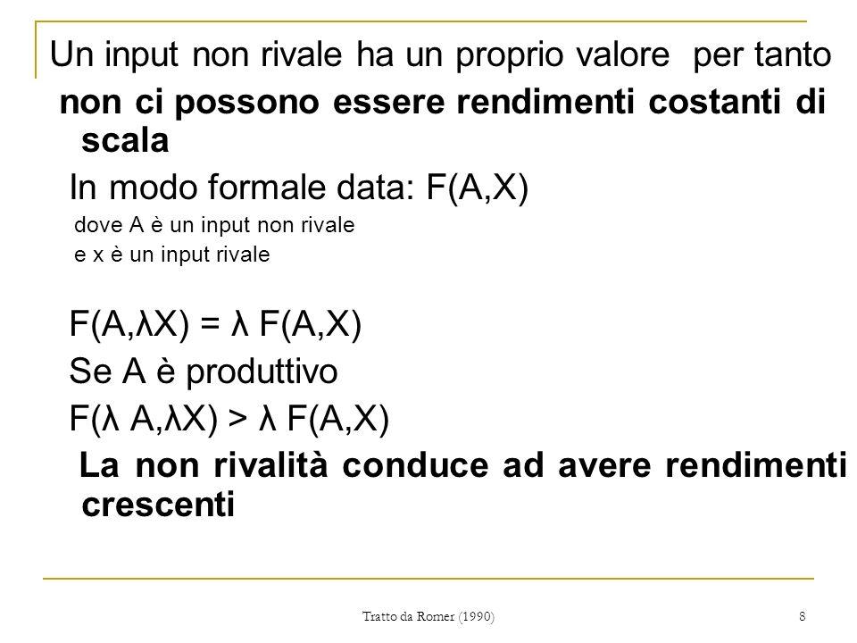 Tratto da Romer (1990) 8 Un input non rivale ha un proprio valore per tanto non ci possono essere rendimenti costanti di scala In modo formale data: F(A,X) dove A è un input non rivale e x è un input rivale F(A,λX) = λ F(A,X) Se A è produttivo F(λ A,λX) > λ F(A,X) La non rivalità conduce ad avere rendimenti crescenti