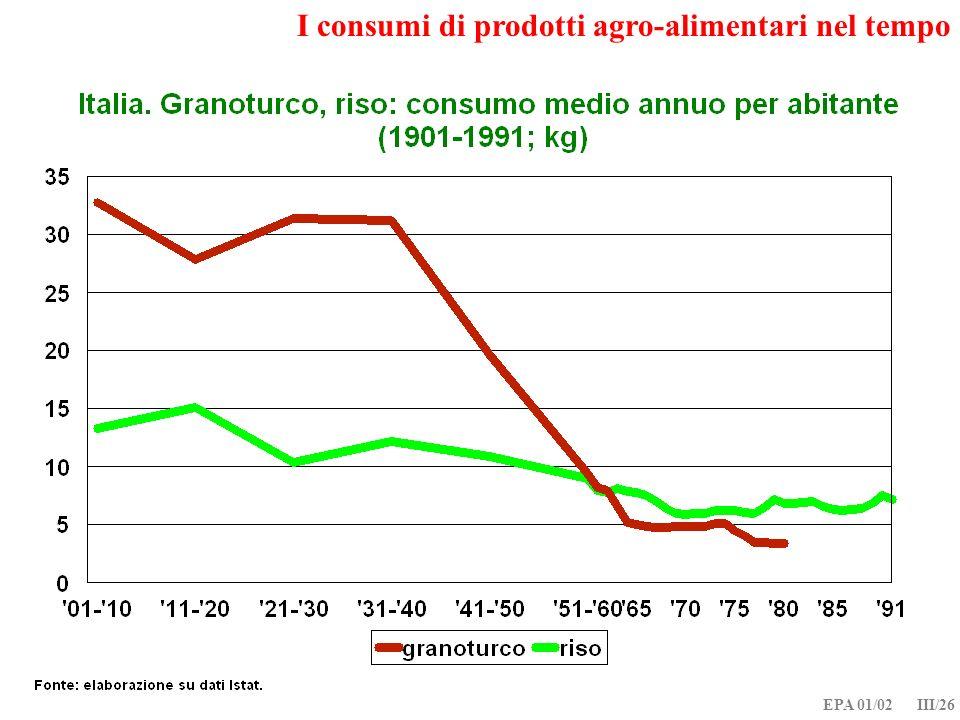 EPA 01/02 III/26 I consumi di prodotti agro-alimentari nel tempo