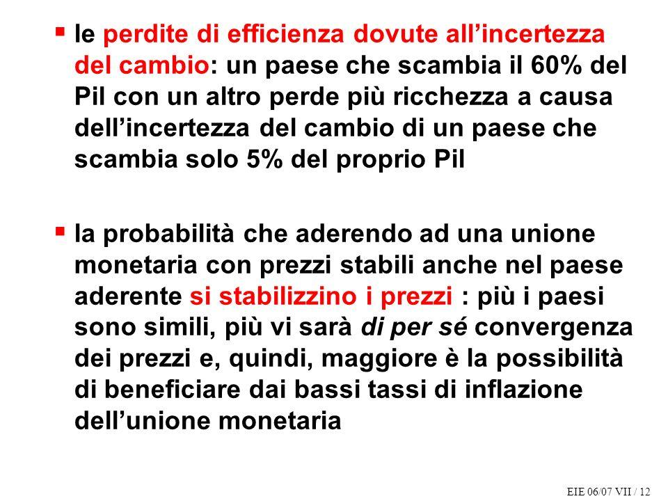 EIE 06/07 VII / 12 le perdite di efficienza dovute allincertezza del cambio: un paese che scambia il 60% del Pil con un altro perde più ricchezza a ca