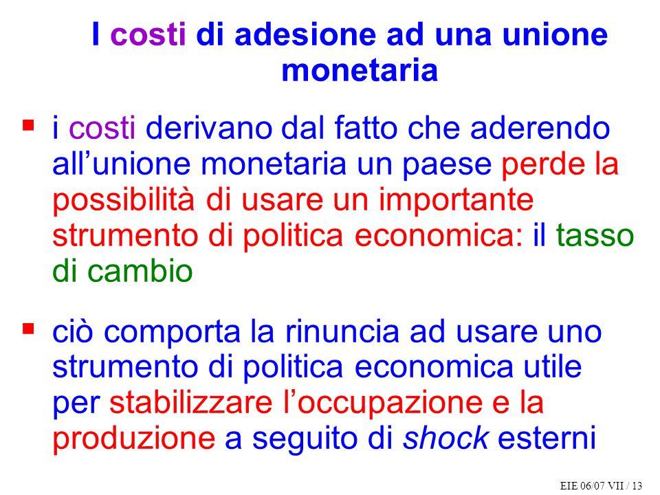 EIE 06/07 VII / 13 I costi di adesione ad una unione monetaria i costi derivano dal fatto che aderendo allunione monetaria un paese perde la possibili