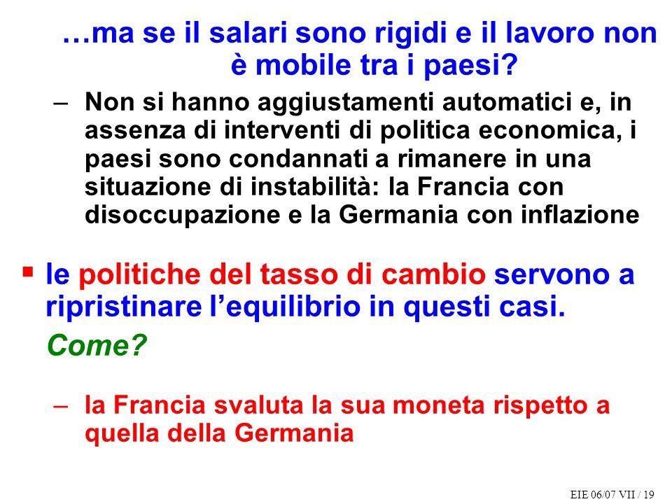 EIE 06/07 VII / 19 …ma se il salari sono rigidi e il lavoro non è mobile tra i paesi.