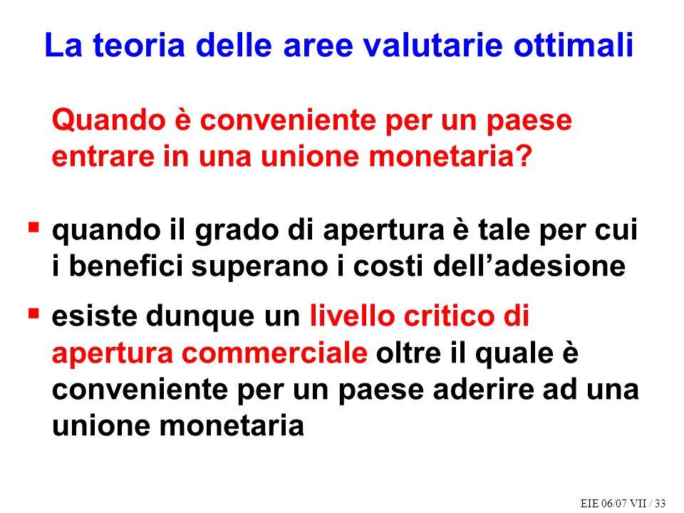 EIE 06/07 VII / 33 La teoria delle aree valutarie ottimali Quando è conveniente per un paese entrare in una unione monetaria? quando il grado di apert