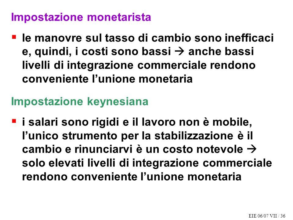 EIE 06/07 VII / 36 Impostazione monetarista le manovre sul tasso di cambio sono inefficaci e, quindi, i costi sono bassi anche bassi livelli di integr