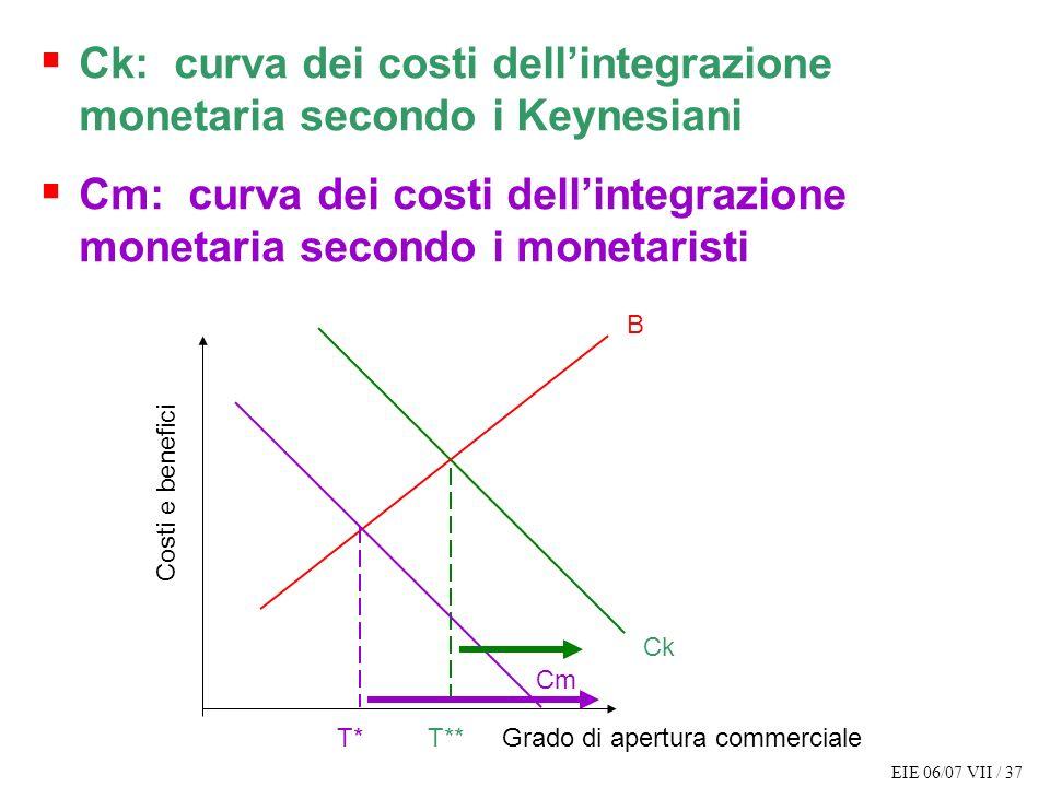 EIE 06/07 VII / 37 Costi e benefici Grado di apertura commerciale B Ck T** Ck: curva dei costi dellintegrazione monetaria secondo i Keynesiani Cm: cur