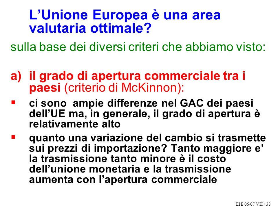 EIE 06/07 VII / 38 LUnione Europea è una area valutaria ottimale? sulla base dei diversi criteri che abbiamo visto: a)il grado di apertura commerciale