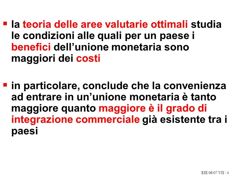 EIE 06/07 VII / 4 la teoria delle aree valutarie ottimali studia le condizioni alle quali per un paese i benefici dellunione monetaria sono maggiori d