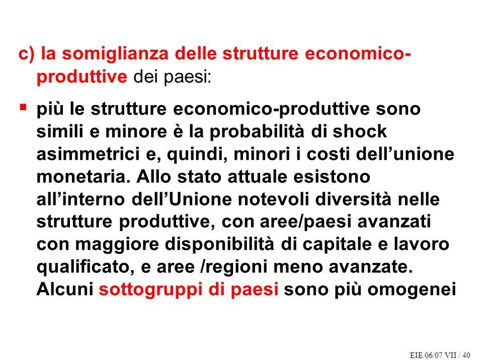 EIE 06/07 VII / 40 c) la somiglianza delle strutture economico- produttive dei paesi: più le strutture economico-produttive sono simili e minore è la probabilità di shock asimmetrici e, quindi, minori i costi dellunione monetaria.