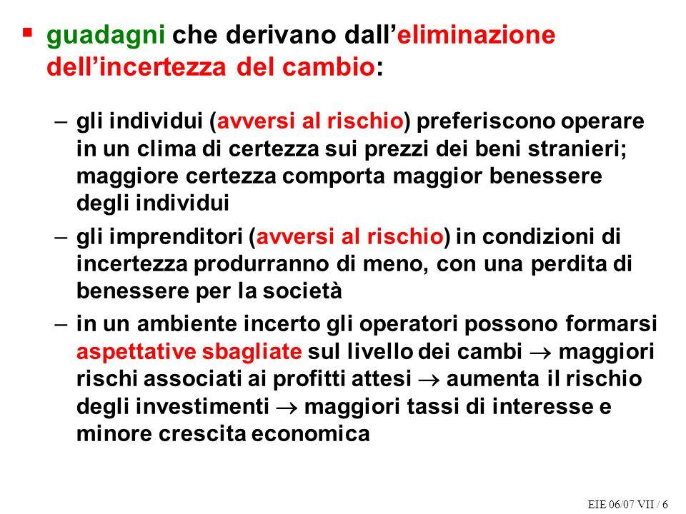 EIE 06/07 VII / 6 guadagni che derivano dalleliminazione dellincertezza del cambio: –gli individui (avversi al rischio) preferiscono operare in un cli