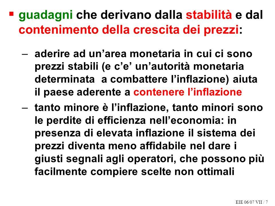 EIE 06/07 VII / 7 guadagni che derivano dalla stabilità e dal contenimento della crescita dei prezzi: –aderire ad unarea monetaria in cui ci sono prez