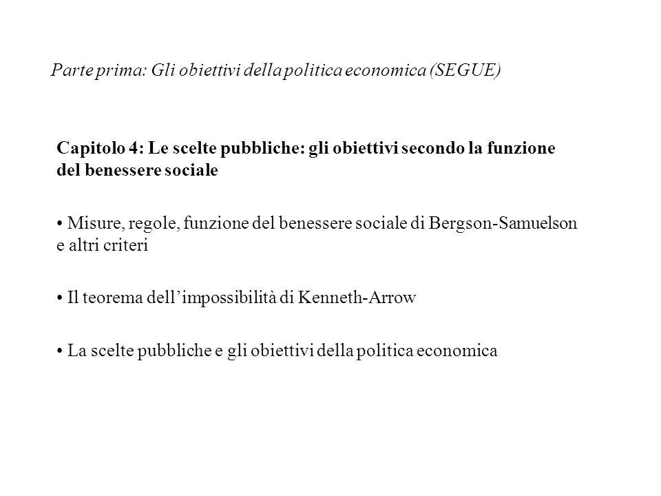 Parte prima: Gli obiettivi della politica economica (SEGUE) Capitolo 4: Le scelte pubbliche: gli obiettivi secondo la funzione del benessere sociale M