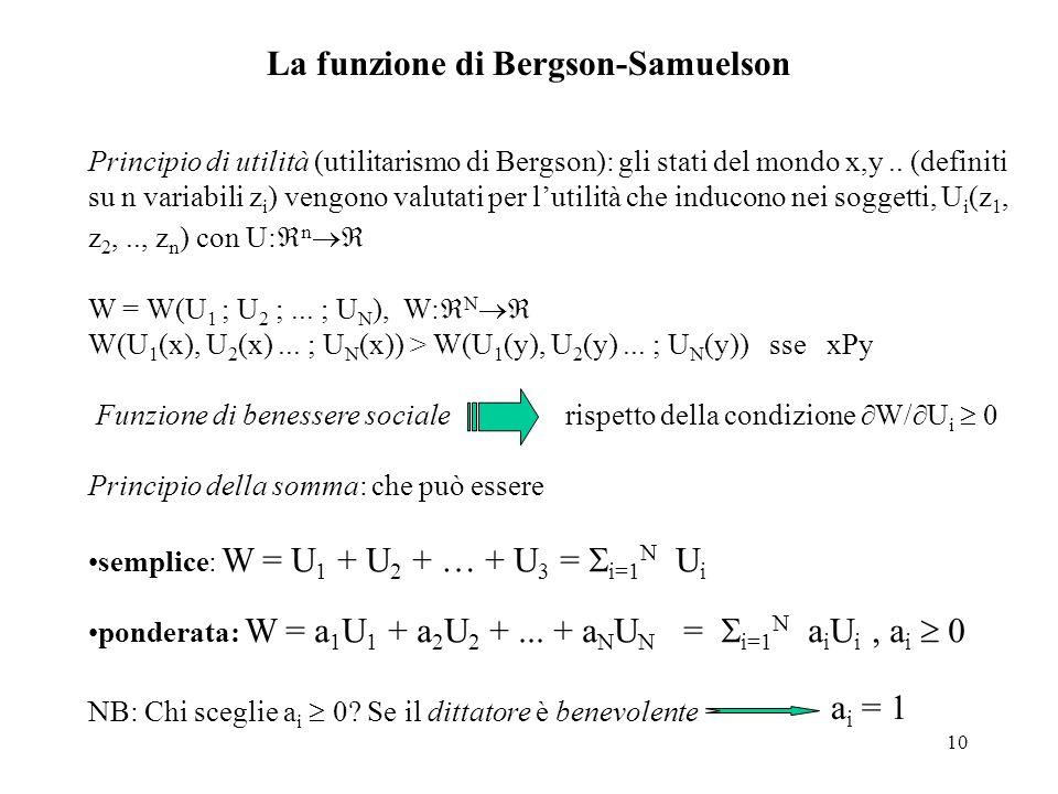 10 La funzione di Bergson-Samuelson Principio di utilità (utilitarismo di Bergson): gli stati del mondo x,y.. (definiti su n variabili z i ) vengono v