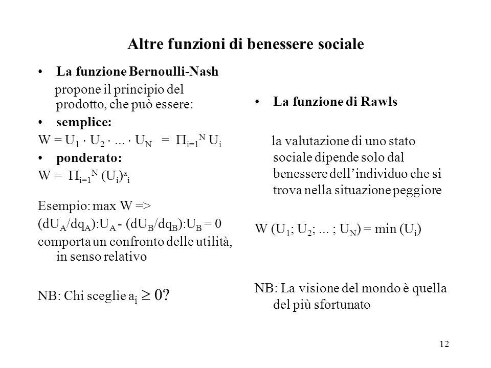 12 Altre funzioni di benessere sociale La funzione Bernoulli-Nash propone il principio del prodotto, che può essere: semplice: W = U 1 U 2... U N = i=