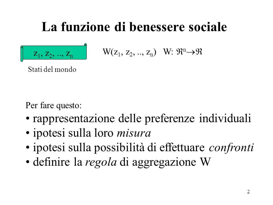 2 La funzione di benessere sociale z 1, z 2,.., z n Stati del mondo W(z 1, z 2,.., z n ) W: n Per fare questo: rappresentazione delle preferenze indiv