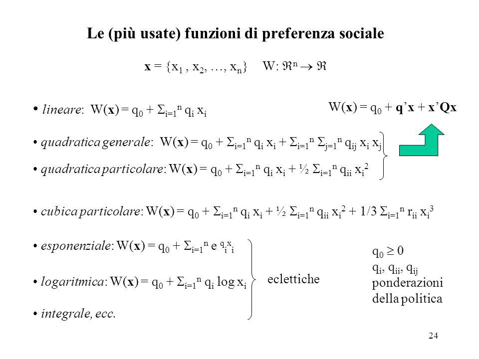 24 Le (più usate) funzioni di preferenza sociale x = x 1, x 2, …, x n W: n lineare: W(x) = q 0 + i=1 n q i x i quadratica generale: W(x) = q 0 + i=1 n