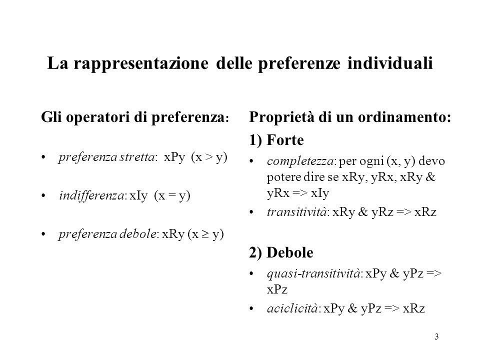 3 La rappresentazione delle preferenze individuali Gli operatori di preferenza : preferenza stretta: xPy (x > y) indifferenza: xIy (x = y) preferenza