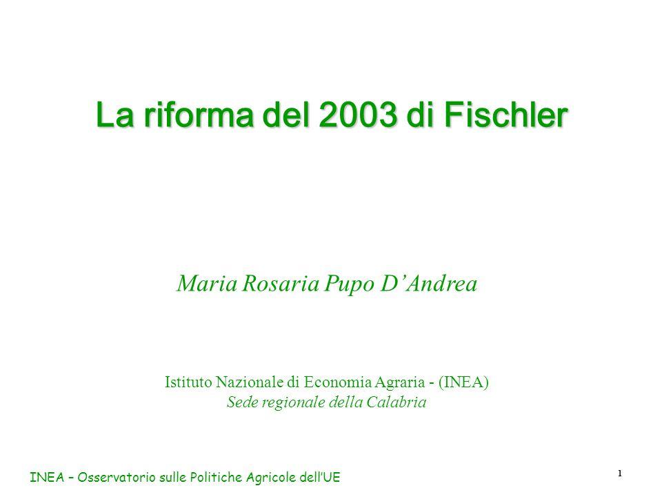 INEA – Osservatorio sulle Politiche Agricole dellUE 1 La riforma del 2003 di Fischler Maria Rosaria Pupo DAndrea Istituto Nazionale di Economia Agrari