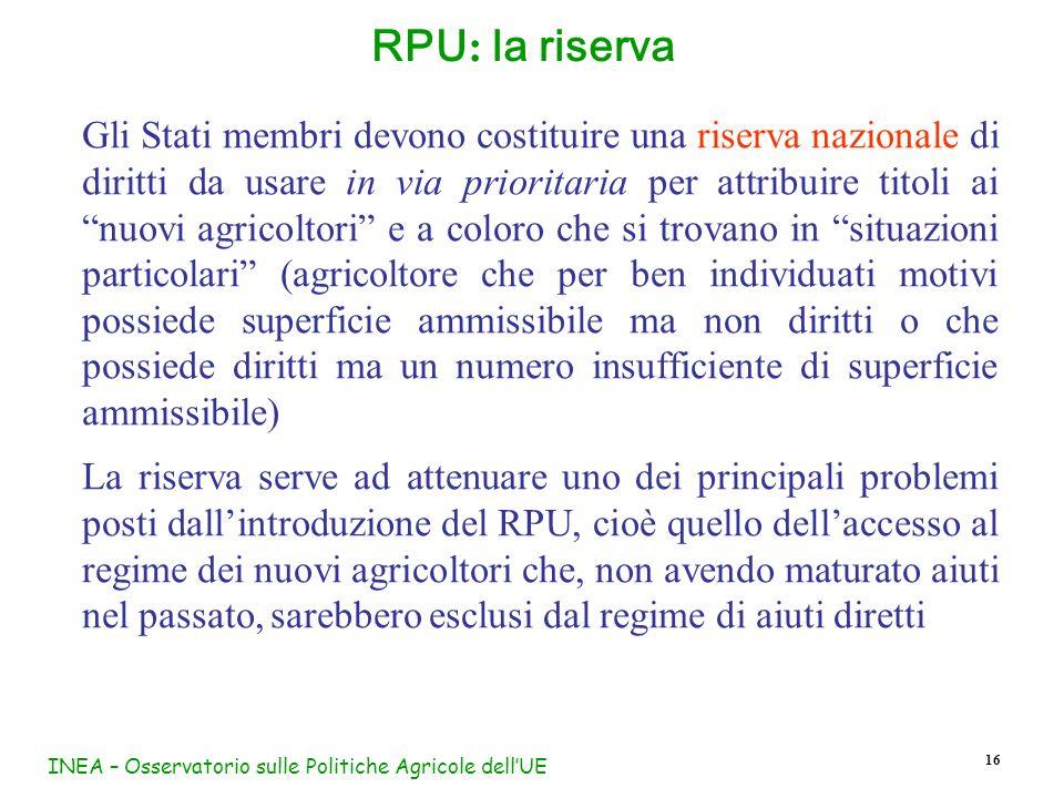 INEA – Osservatorio sulle Politiche Agricole dellUE 16 RPU : la riserva Gli Stati membri devono costituire una riserva nazionale di diritti da usare i