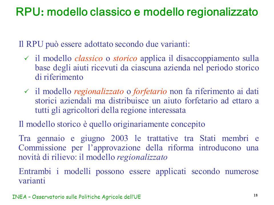 INEA – Osservatorio sulle Politiche Agricole dellUE 18 RPU : modello classico e modello regionalizzato Il RPU può essere adottato secondo due varianti