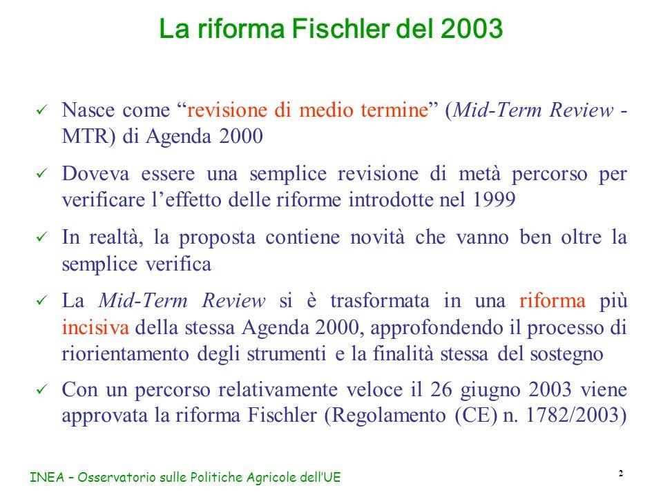 INEA – Osservatorio sulle Politiche Agricole dellUE 2 Nasce come revisione di medio termine (Mid-Term Review - MTR) di Agenda 2000 Doveva essere una s