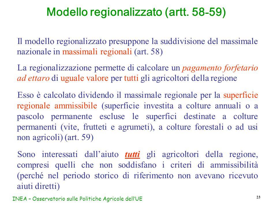 INEA – Osservatorio sulle Politiche Agricole dellUE 23 Modello regionalizzato (artt. 58 - 59) Il modello regionalizzato presuppone la suddivisione del