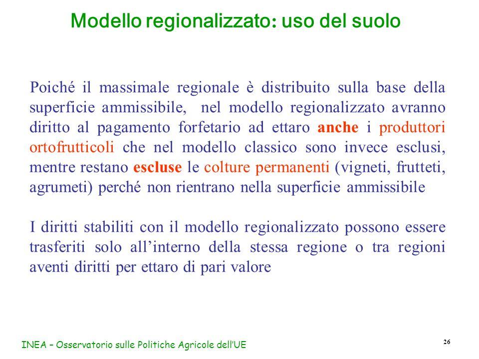 INEA – Osservatorio sulle Politiche Agricole dellUE 26 Modello regionalizzato : uso del suolo Poiché il massimale regionale è distribuito sulla base d