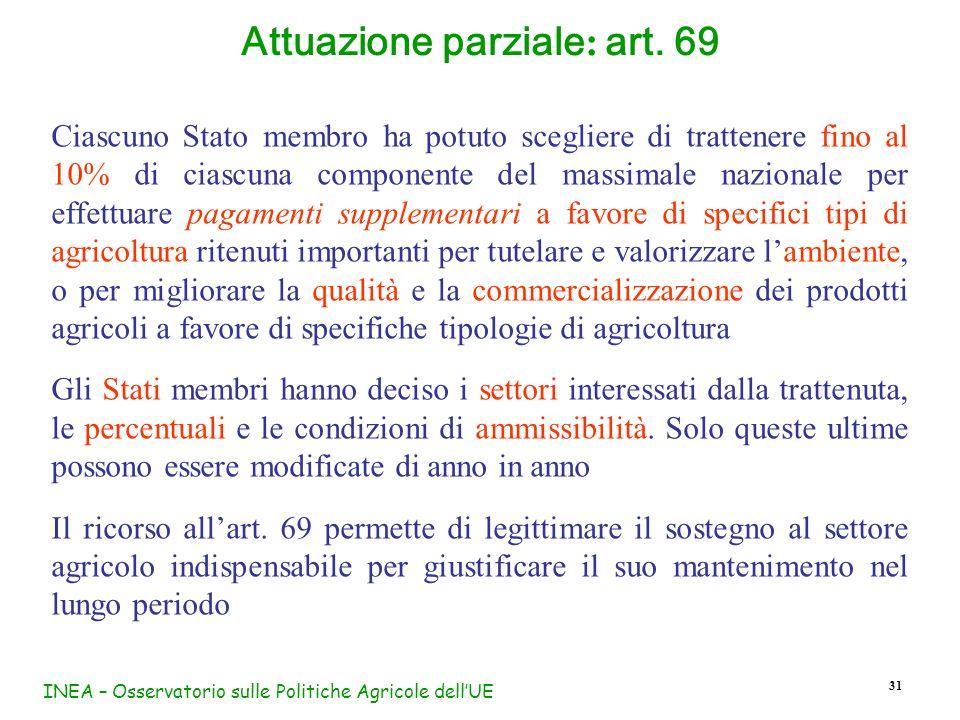 INEA – Osservatorio sulle Politiche Agricole dellUE 31 Ciascuno Stato membro ha potuto scegliere di trattenere fino al 10% di ciascuna componente del