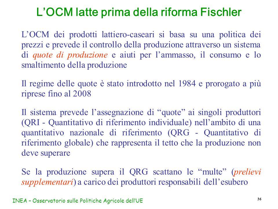 INEA – Osservatorio sulle Politiche Agricole dellUE 36 LOCM latte prima della riforma Fischler LOCM dei prodotti lattiero-caseari si basa su una polit