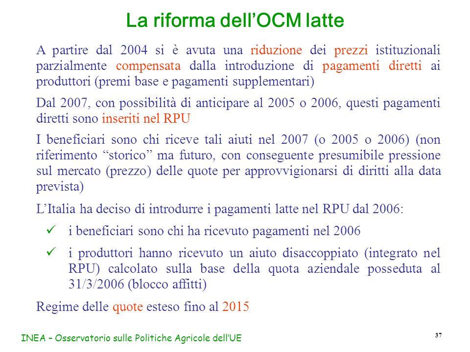 INEA – Osservatorio sulle Politiche Agricole dellUE 37 La riforma dellOCM latte A partire dal 2004 si è avuta una riduzione dei prezzi istituzionali p