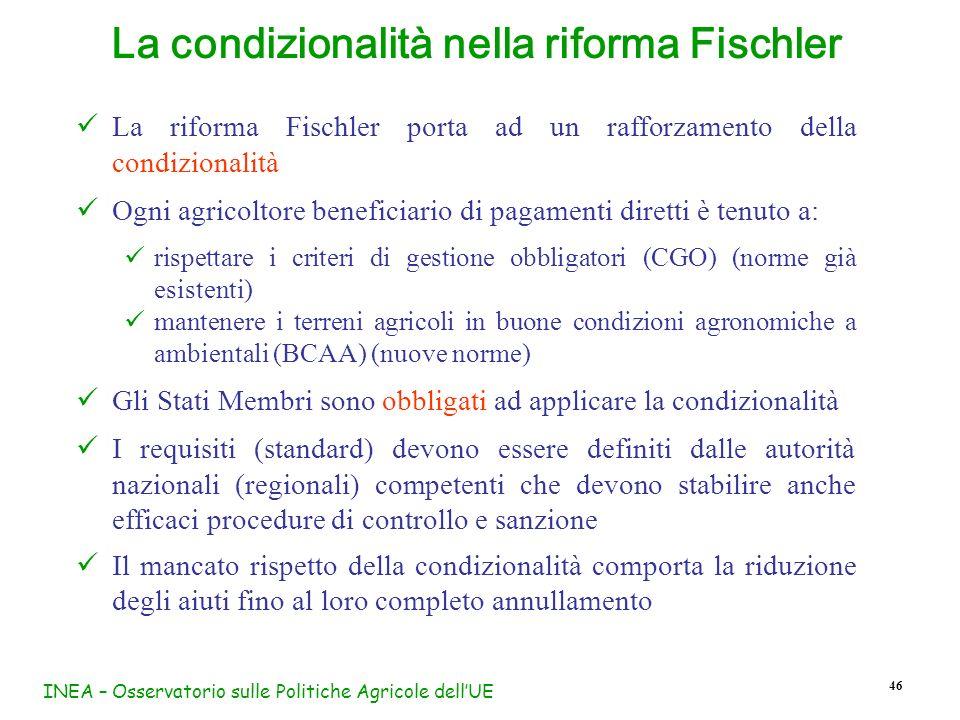INEA – Osservatorio sulle Politiche Agricole dellUE 46 La riforma Fischler porta ad un rafforzamento della condizionalità Ogni agricoltore beneficiari